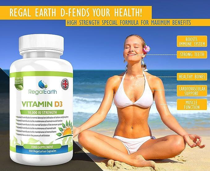 La vitamina D3 10000 UI de alta resistencia Cápsulas Suplementos ...