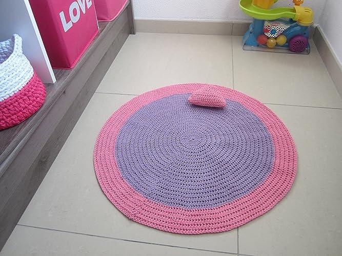 Tapis au crochet pour chambre de bébé ou petite fille, tapis violet ...