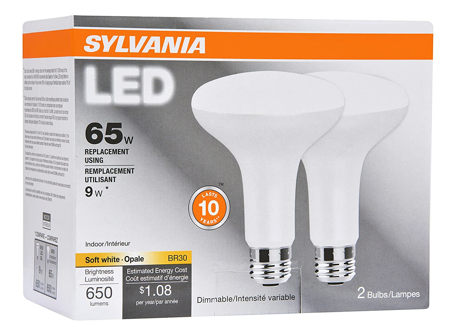SYLVANIA 65W Equivalent LED Light Bulb BR30 Lamp 2 Pack Soft White Energy Saving Dimmable Value Series Medium Base Efficient 9W