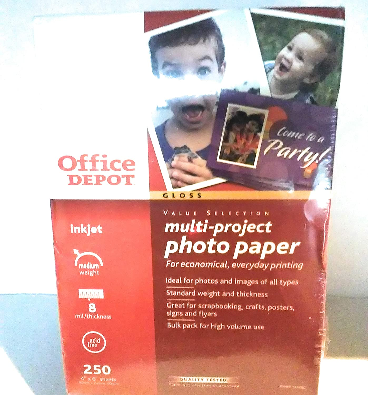 "Office Depot Multi-Project Inkjet Photo Paper Gloss 4"" x 6"" 250-count"