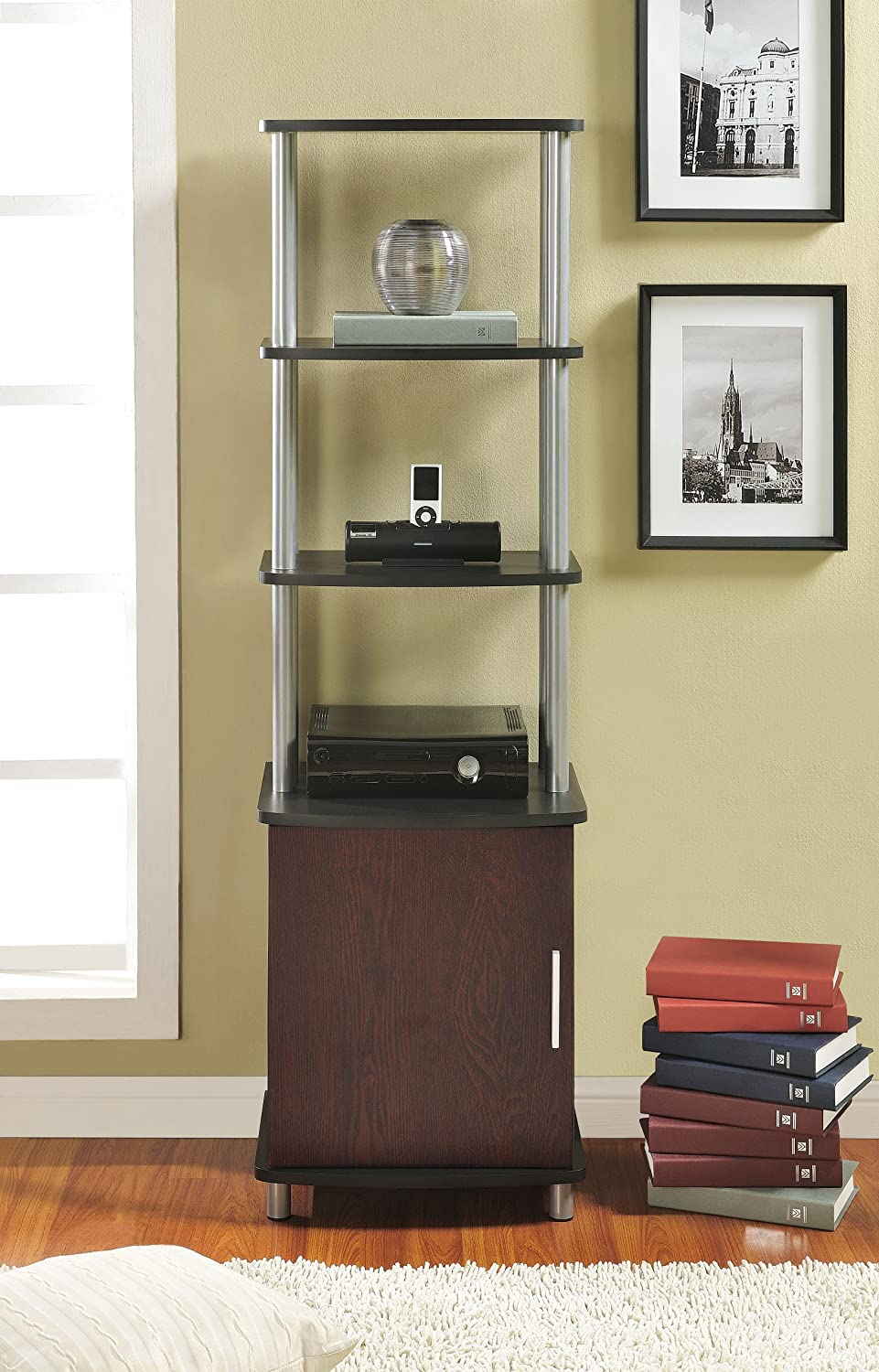 Amazon.com: Ameriwood Home Carson Audio Stand, Cherry/Black ...