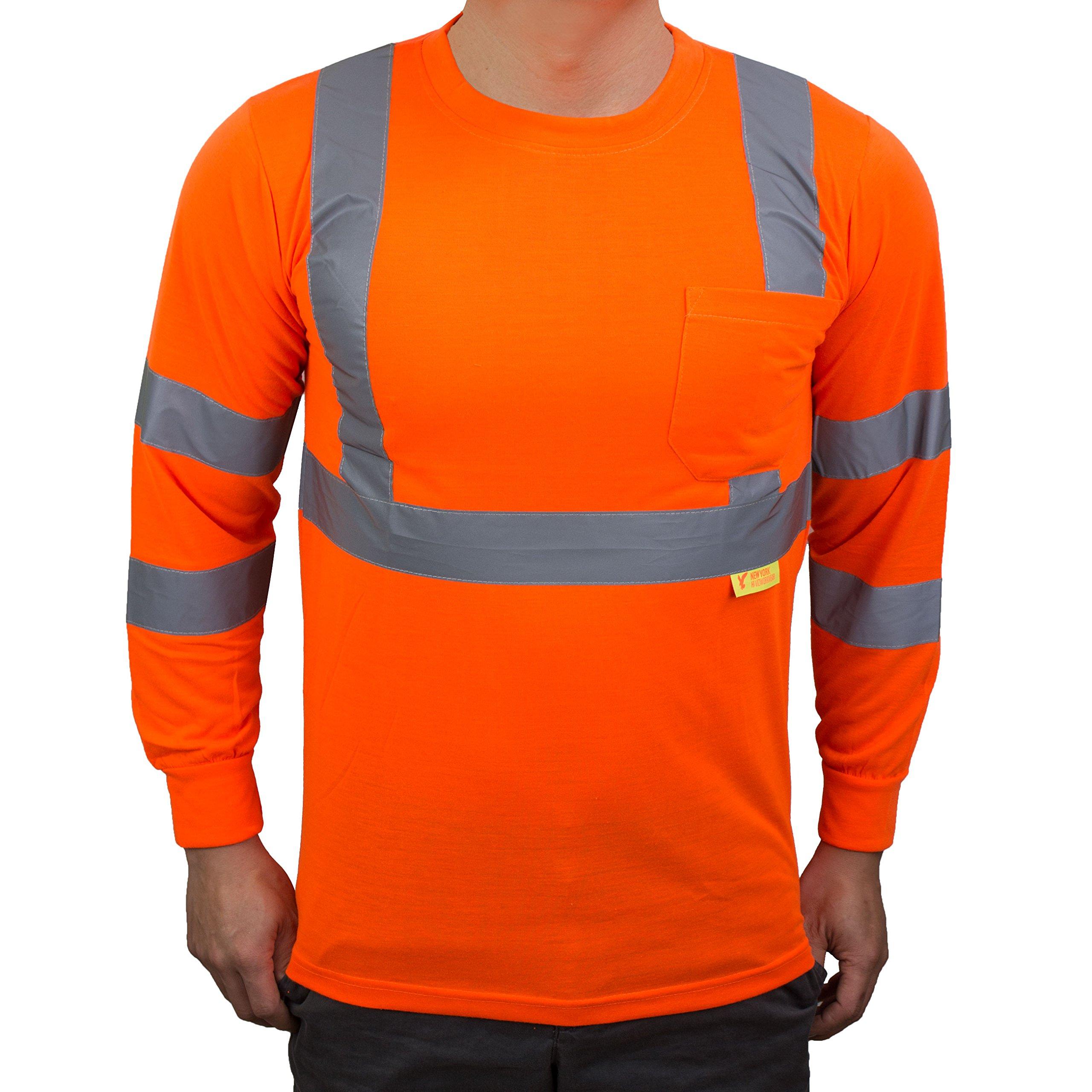 NY Hi-Viz Workwear L9091 Class 3 High Vis Reflective Long Sleeve ANSI Safety Shirt (Large, Orange) by New York Hi-Viz Workwear (Image #2)