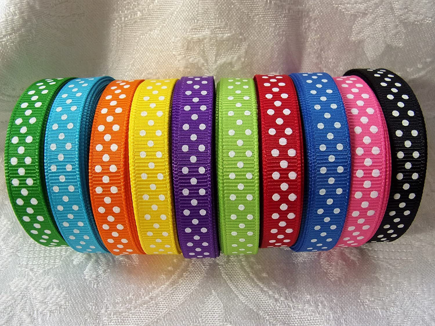 "5 Yards 7//8/"" OFFRAY SWISS DOT GROSGRAIN RIBBON 14 COLORS YOU PICK COLOR"