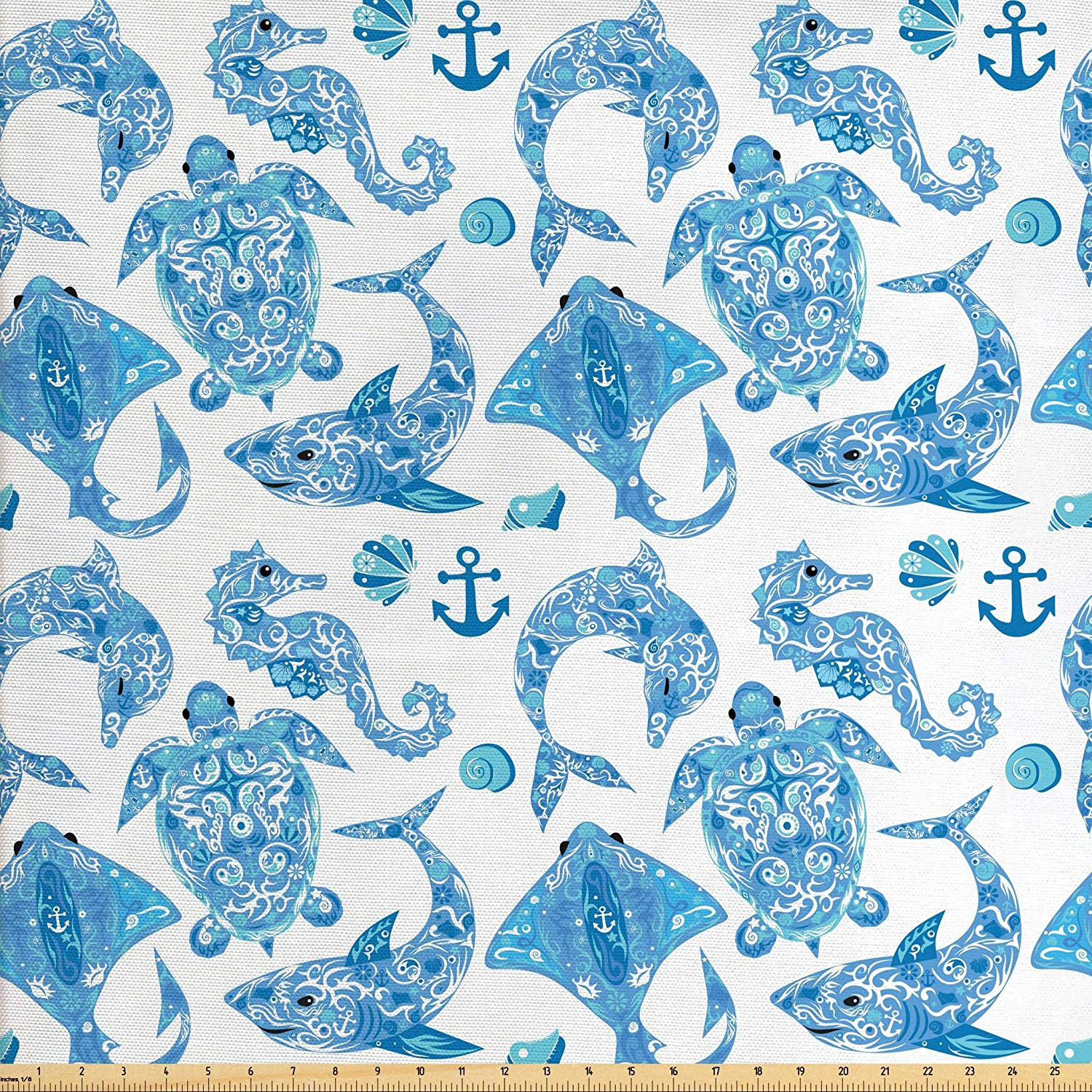 Lunarable Anchor Fabric by The Yard, Pattern with Turtle Dolphin Sea Horse Mollusk Shark Fauna Exotic Tropical Aquatic, Decorative Fabric for Upholstery and Home Accents, 1 Yard, Sky Blue