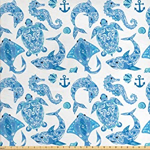 Lunarable Anchor Fabric by The Yard, Pattern with Turtle Dolphin Sea Horse Mollusk Shark Fauna Exotic Tropical Aquatic, Decorative Fabric for Upholstery and Home Accents, 3 Yards, Sky Blue