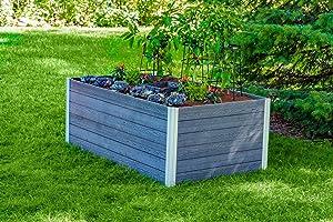Vita VT17602 Urbana 3x5 Keyhole Garden Bed, Slate Grey