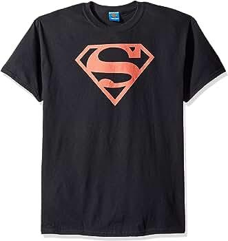 Superman Escudo Rojo sobre Negro Mens Camisa Manga Corta Negro SM: Amazon.es: Ropa y accesorios
