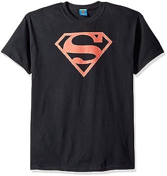 amazon com trevco men s superman red on black logo t shirt clothing