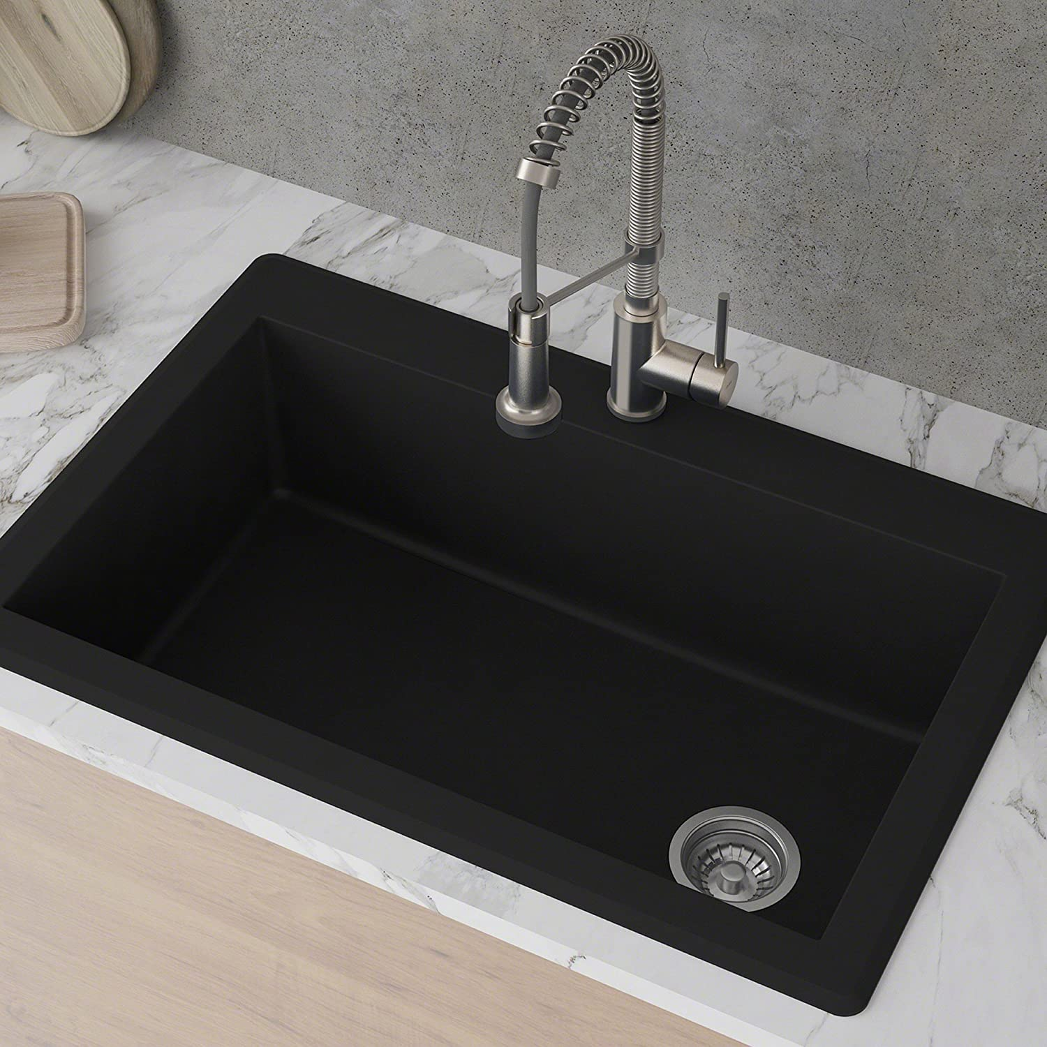 Kraus KGD-54BLACK Forteza Granite Kitchen Sink, 33 Inch, Black