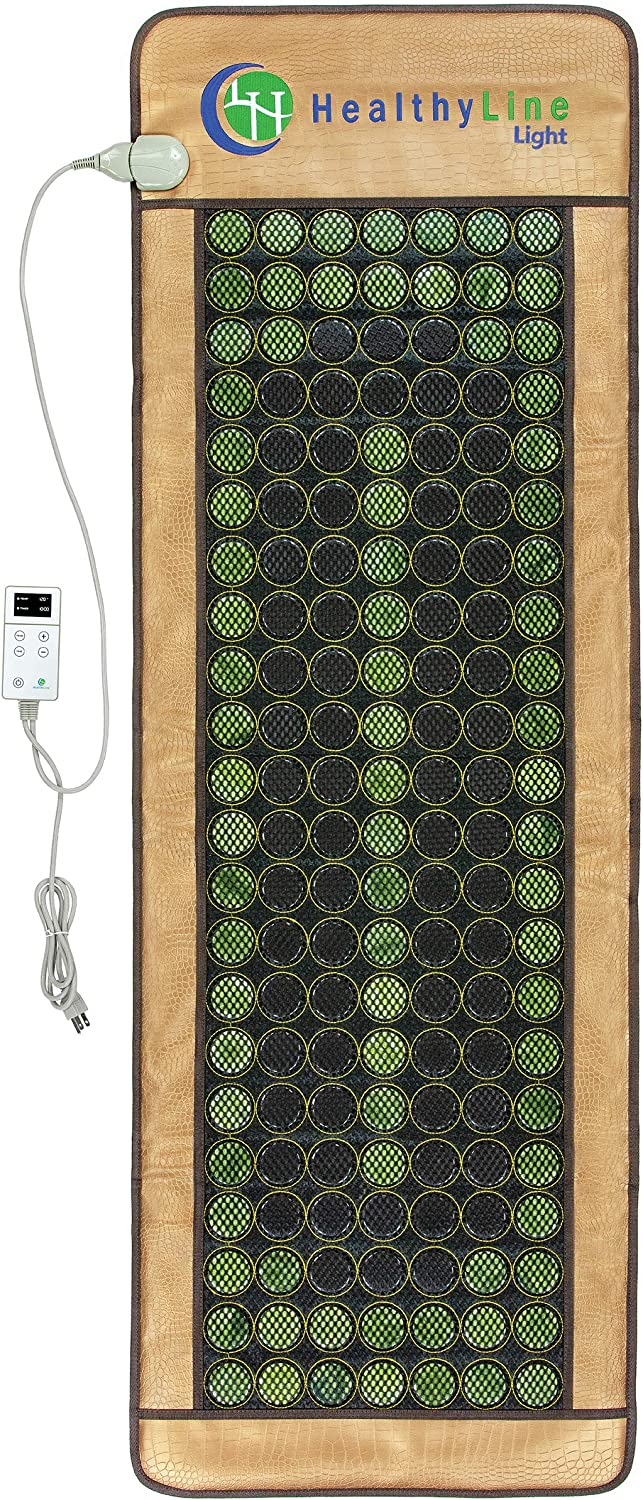 """HealthyLine 3-in-1 Mesh Infrared Heating Pad - Full Body Effective Pain Relief - Flexible Mat, Adjustable Time - 154 of Jade Tourmaline Stone - 72"""" x 24"""": Health & Personal Care"""