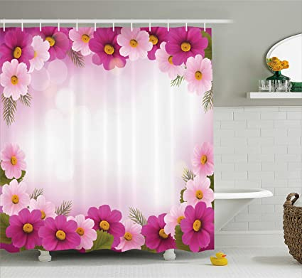 Ambesonne Pink Shower Curtain Framework With Romantic Daisies Valentines Day Decor Celebration Theme Fabric