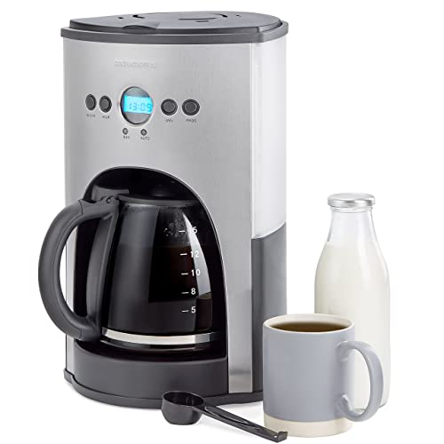 Andrew James Filter Coffee Maker with Timer - Programmable Automatic Drip Machine with Digital LED Display for Delay Start Timer & Keep Warm Functions - 1.8L/15 Cup Carafe & Warming Plate - 1100W