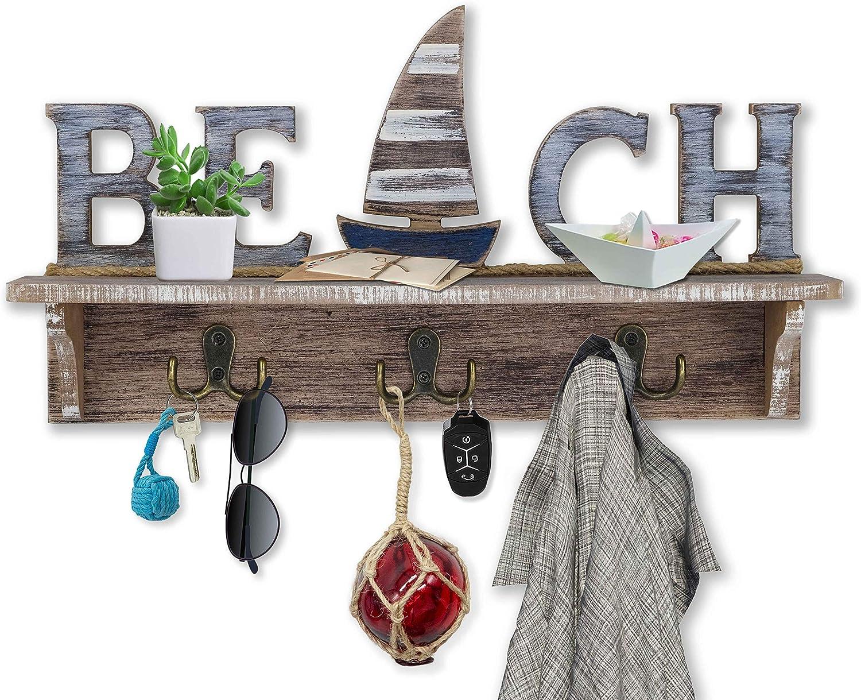 SAILINGSTORY Beach Wall Décor, Beach Sign Key Holder for Wall Mounted Coat Rack with Shelf, Beach Décor Nautical Décor Key Hook for Wall with Shelf