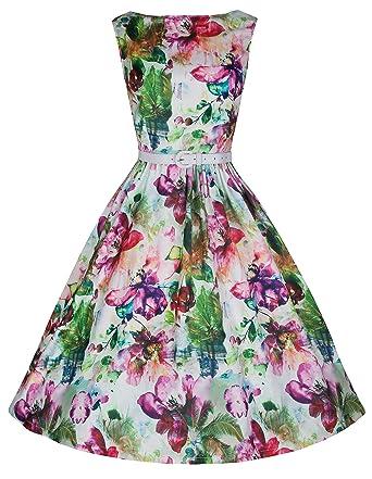 997571b0c94d Lindy Bop 'Audrey' Vintage Style Dream Flower Print 50's Swing Dress