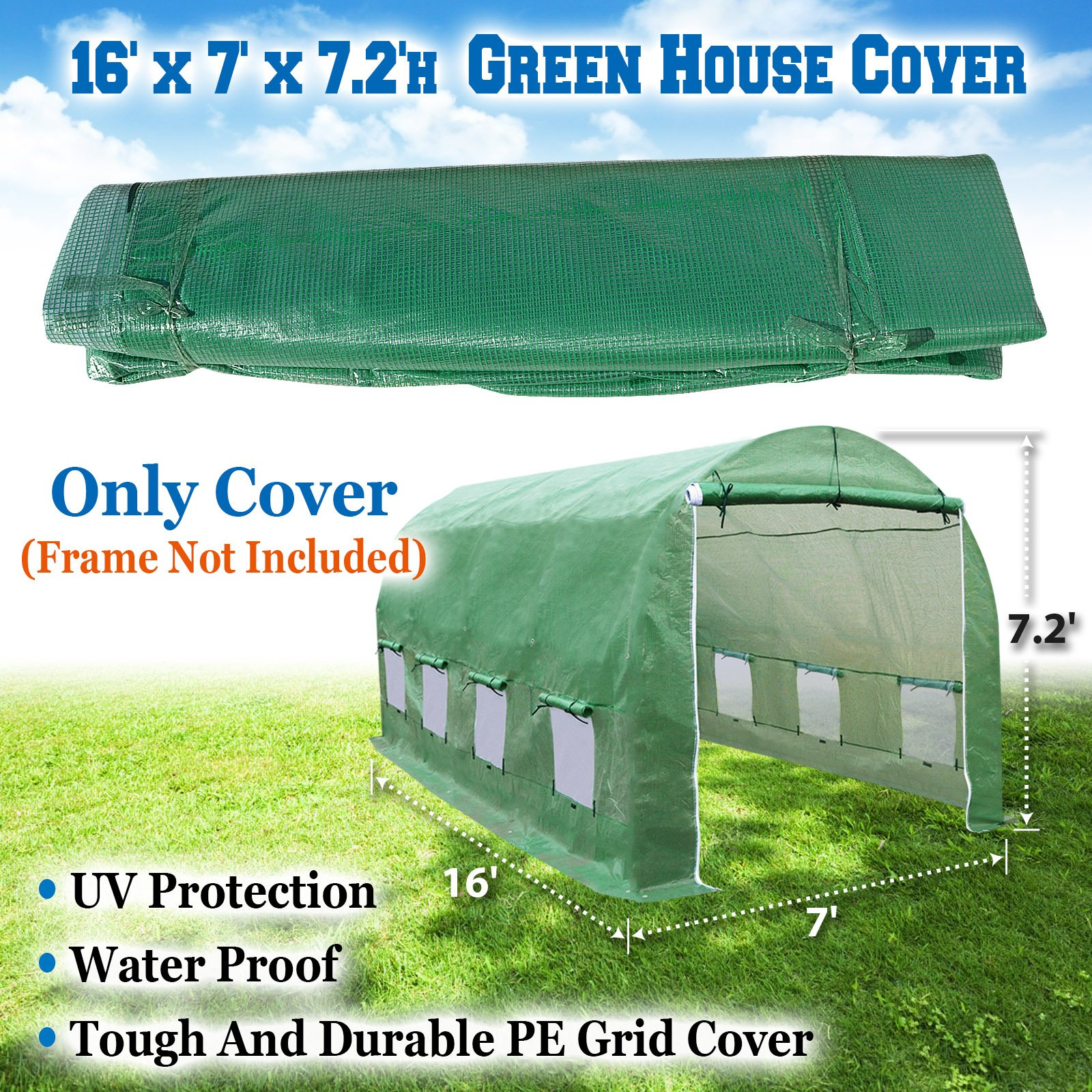 BenefitUSA Green House Replacement Spare Parts for 16'X7'X7'H Walk In Outdoor Plant Gardening Greenhouse (cover)