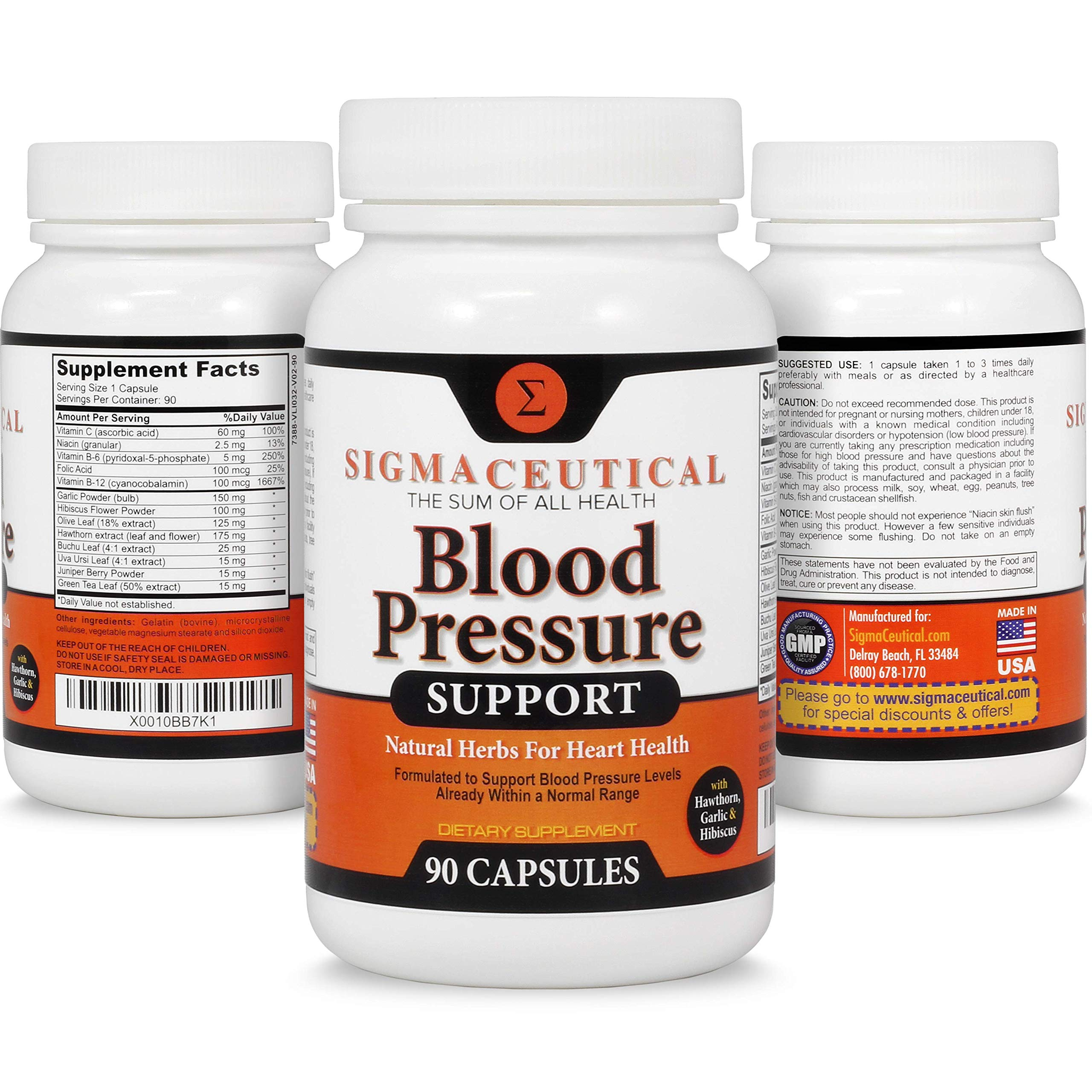 5 Pack of Premium Blood Pressure Support Formula - High Blood Pressure Supplement w/Vitamins, Hawthorn Extract, Olive Leaf, Garlic Extract & Hibiscus Supplement - 90 Capsules Each by Sigmaceutical (Image #6)