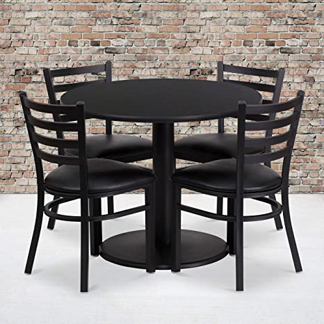 Flash Furniture 36\'\' Round Black Laminate Table Set with 4 Ladder Back  Metal Chairs - Black Vinyl Seat