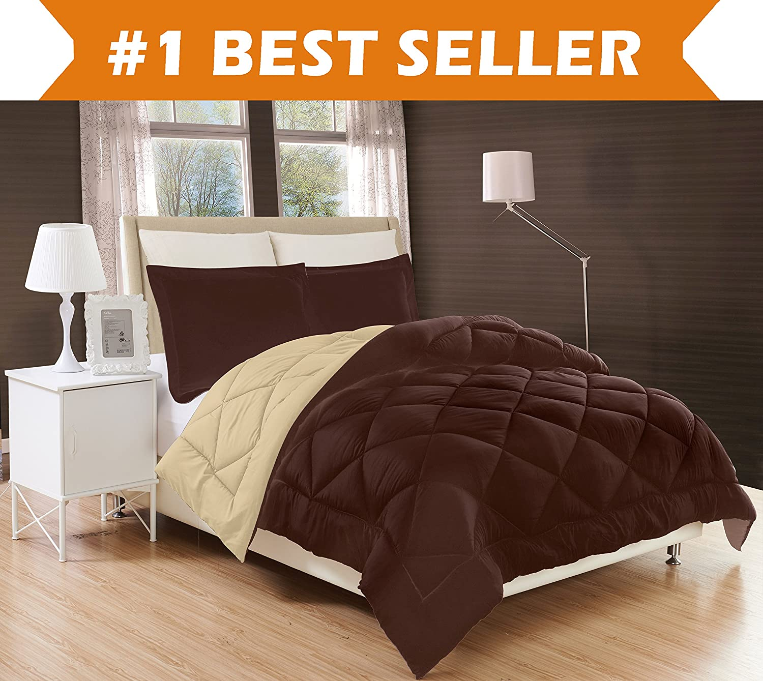 Reversible 3-Piece Comforter Set, Full/Queen, Chocolate Brown/Cream