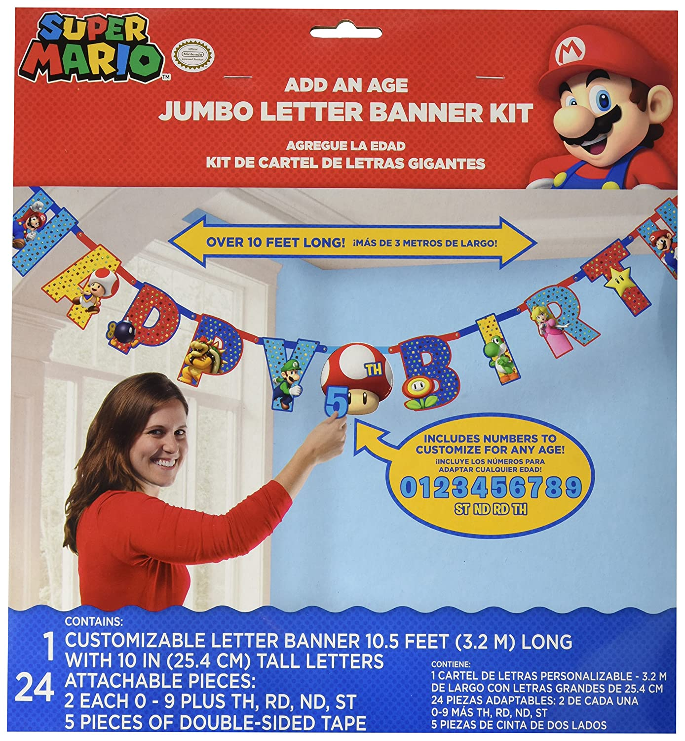 (Super Mario Brothers) - Amscan Super Mario Brothers Jumbo Add-an-Age Happy Birthday Letter Banner, 6 Ct.  Super Mario Brothers B077DQ56S5