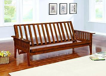 coaster home furnishings 4382 traditional futon frame oak amazon    coaster home furnishings 4382 traditional futon frame      rh   amazon
