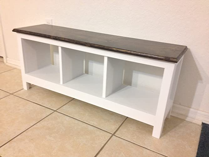 Entryway Hallway Mudroom Bench / Shoe Cubby / Storage / Organizer /  Entertainment Center With Three