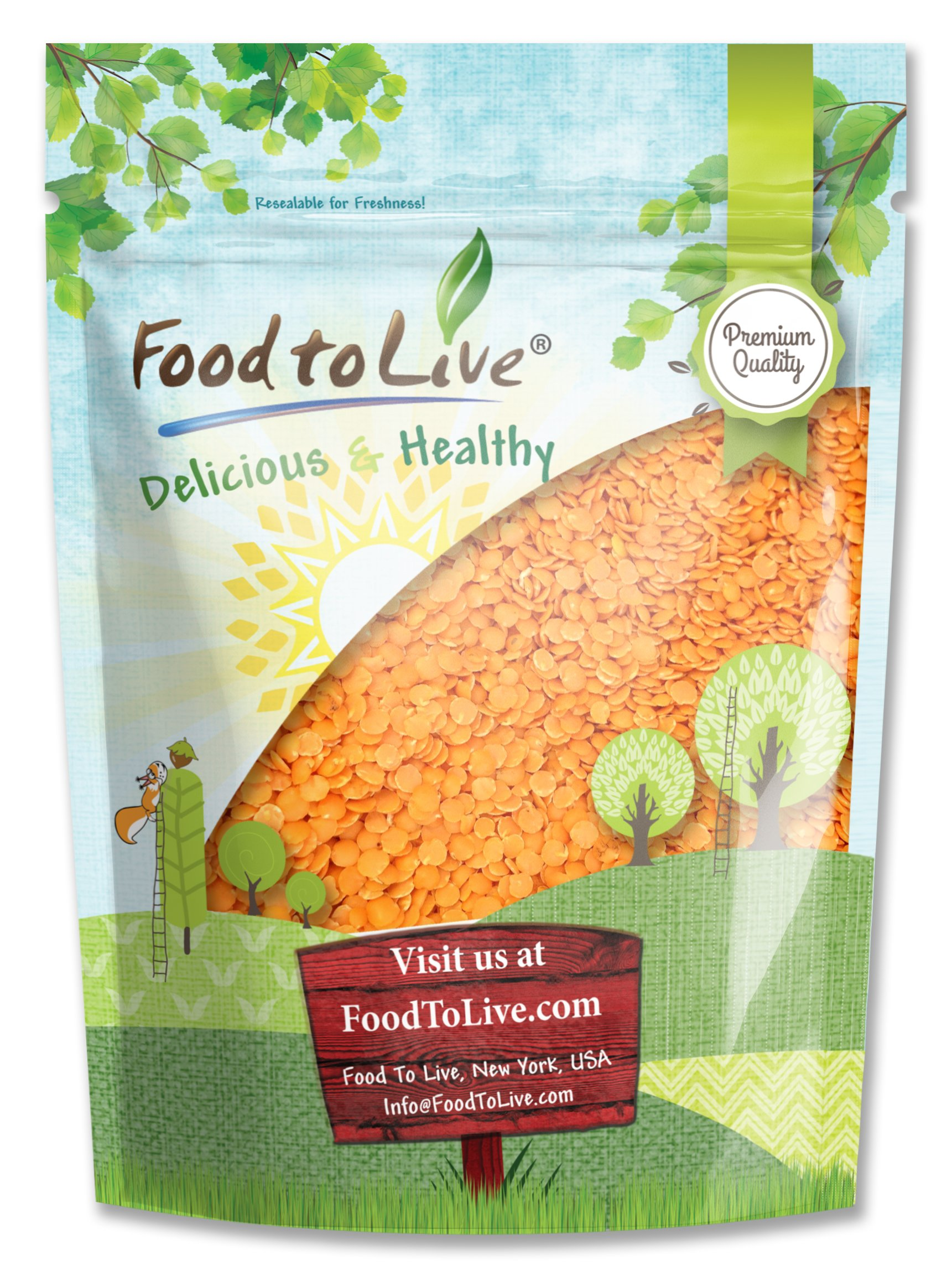 Red Split Lentils by Food to Live (Dry Beans, Raw, Kosher, Bulk) — 1 Pound