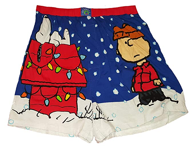 240c0d39e714 Christmas Peanuts Snoopy Charlie Brown Blue Boxer Shorts - Small at ...