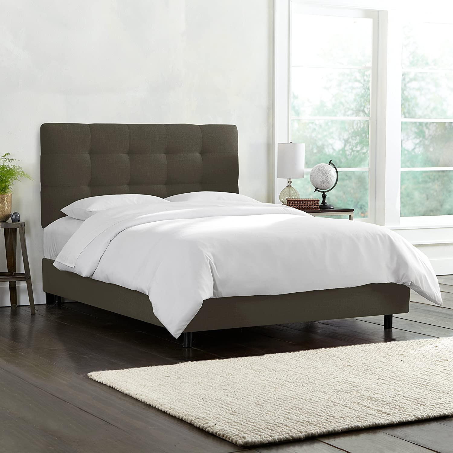 Design Tufted Bed amazon com skyline furniture tufted bed king linen charcoal kitchen dining