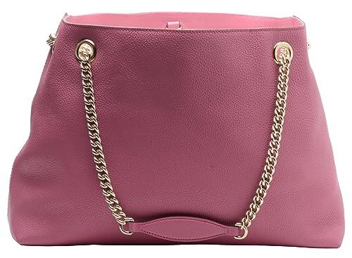 f2701de1a48 Amazon.com  Gucci Soho Large Leather Chain Shoulder Handbag Pink BHFO 0213   Shoes