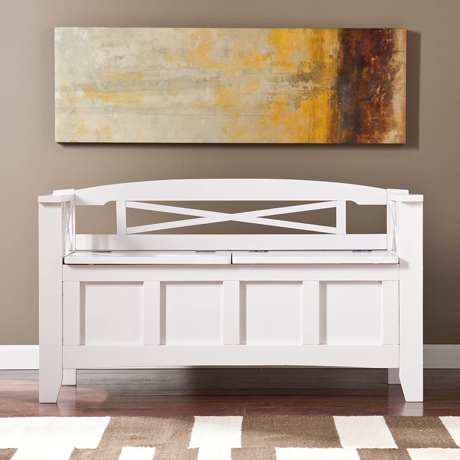 Amazon.com: Southern Enterprises Cutler Storage Entryway Bench, White  Finish: Kitchen U0026 Dining