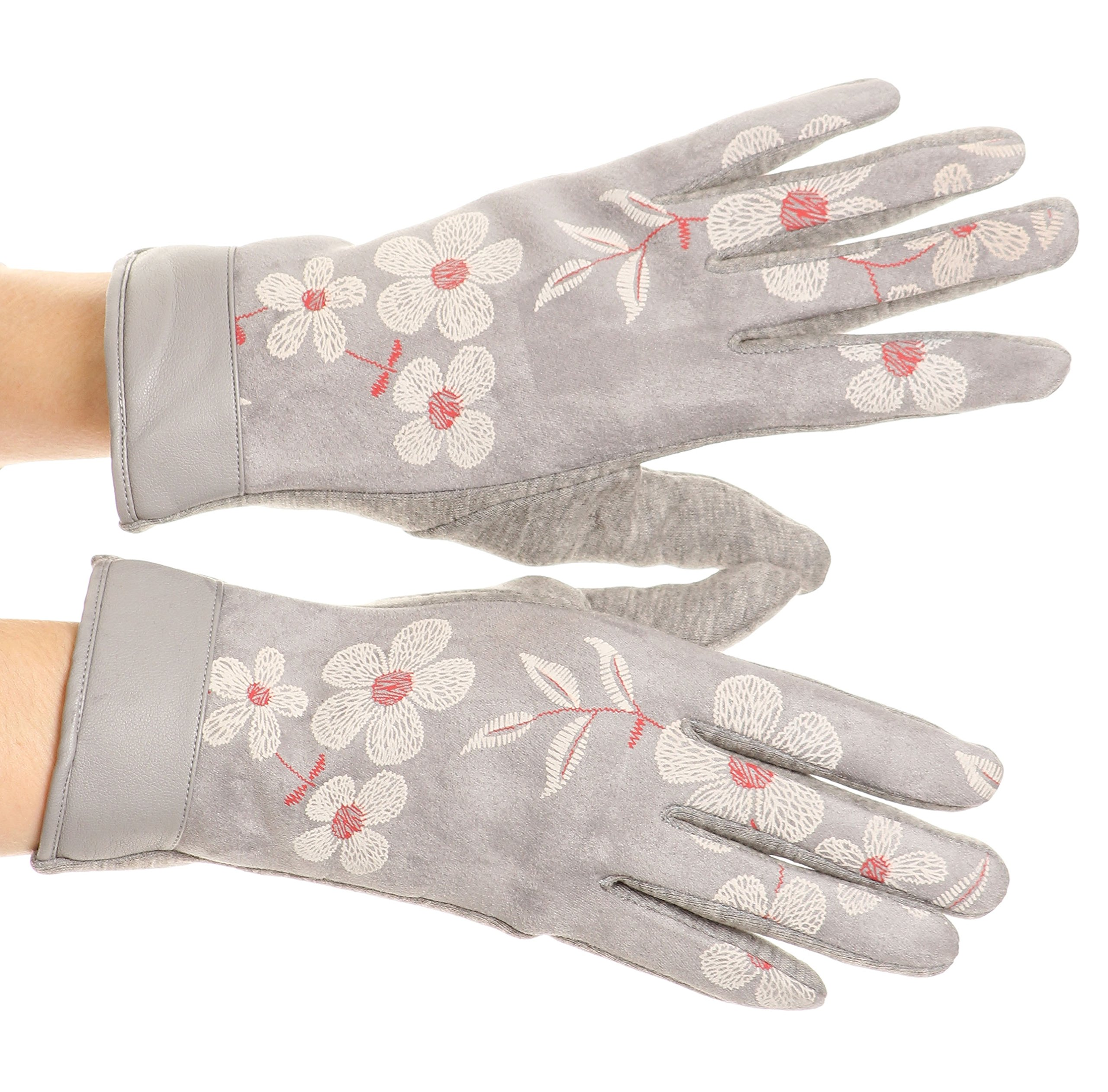 Sakkas GL17 - Liya Classic Warm Driving Touch Screen Capable Stretch Gloves Fleece Lined - 17101-light/gray - S/M