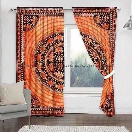 Window Tapestry Curtain And Valances Balcony Indian Mandala Drape Dorm Decor Hippie Door Curtain Window Treatment Wall Hanging Living Room