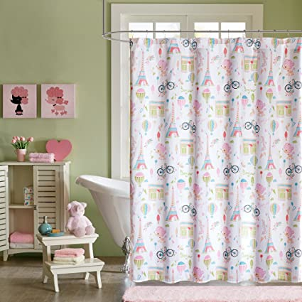 1 Piece Kids Pink Blue Poodles In Paris Shower Curtain 72x72 Inch Green France Themed