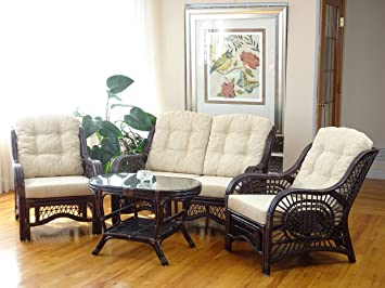 Wondrous Malibu Rattan Wicker Living Room Set 4 Pieces 2 Lounge Chair Loveseat Sofa Coffee Table Dark Brown Cream Cushions Dailytribune Chair Design For Home Dailytribuneorg