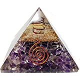 Amethyst Crystal Orgone Reiki Pyramid Kit / Includes 4 Crystal Quartz Energy Points / EMF Protection Meditation Yoga Energy Generator