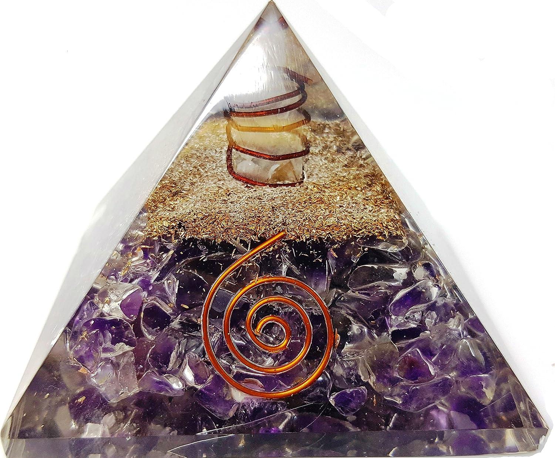 Amethyst Crystal Orgone Reiki Pyramid Kit / Includes 4 Crystal Quartz Energy Points / EMF Protection Meditation Yoga Energy Generator Prana Crystals THUSHK277