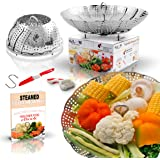 UPGRADED Stainless Steel Vegetable Steamer Basket – Fits Instant Pot Pressure Cooker – Plus BONUS ACCESSORIES – Safety Tool, Multifunction Peeler, Pairing Knife with Cover, and Healthy Recipes eBook