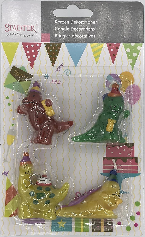 4 mini velas * * dinosaurios para fiestas y cumpleaños ...
