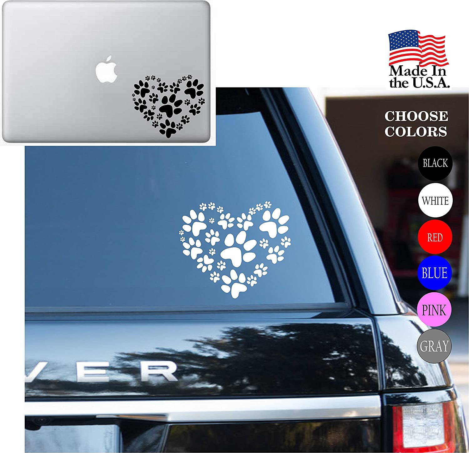 """Animal lover Adopt heart Dog Cat Love Pet PAW Vinyl Decal Sticker - Car Window, Laptop, Wall, Mac (5.5"""" inches, White)"""