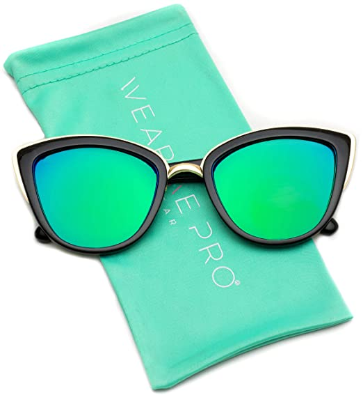 1fab485ffc Womens Cat Eye Mirrored Reflective Lenses Oversized Cateyes Sunglasses  (Black Mirror Green