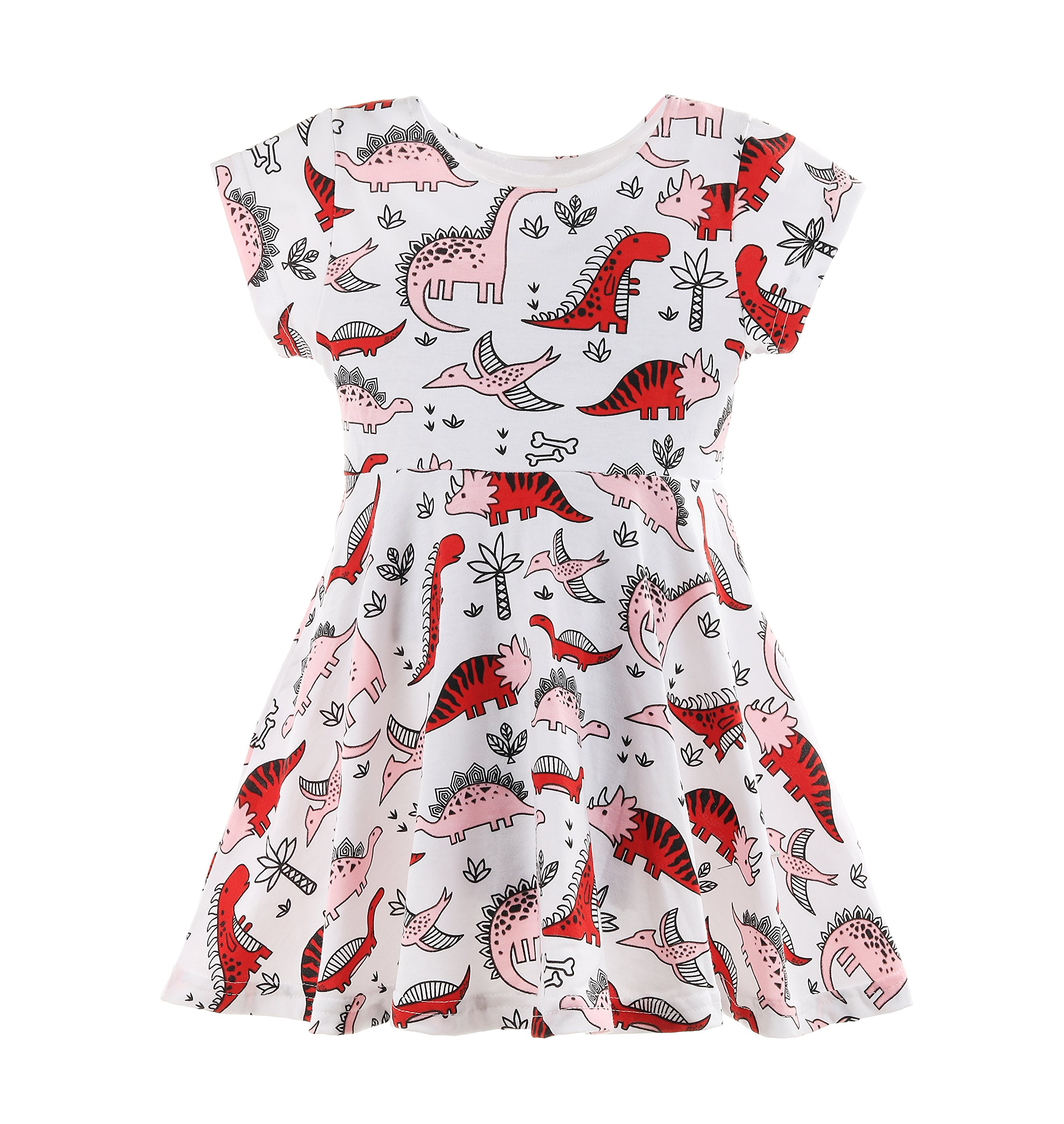 Fozerofo Baby Girl Summer Dinosaurs Print Dress Short Sleeve Casual Skirt Outfit