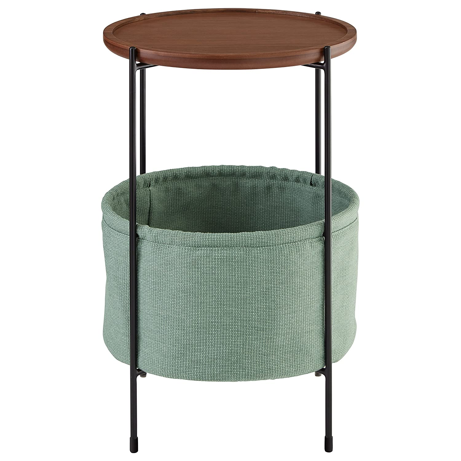 Amazon com rivet meeks round storage basket side table walnut and teal fabric kitchen dining