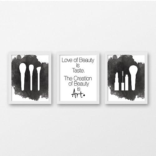 Amazon.com: Beauty Watercolor Art Print Set of 3 - Beauty Salon ...