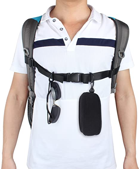 Black Ceqiny 3pcs Backpack Chest Straps Shoulder Strap Utility Strap Sternum Strap Chest Belt with Quick Release Buckle Strap Buckle Packing Straps Buckle Clip Strap Suitable for Hiking and Jogging