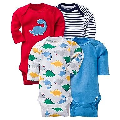 7d693b388 Amazon.com: Gerber Baby Boys' 4 Pack Long Sleeve Onesies - Dinosaur ...