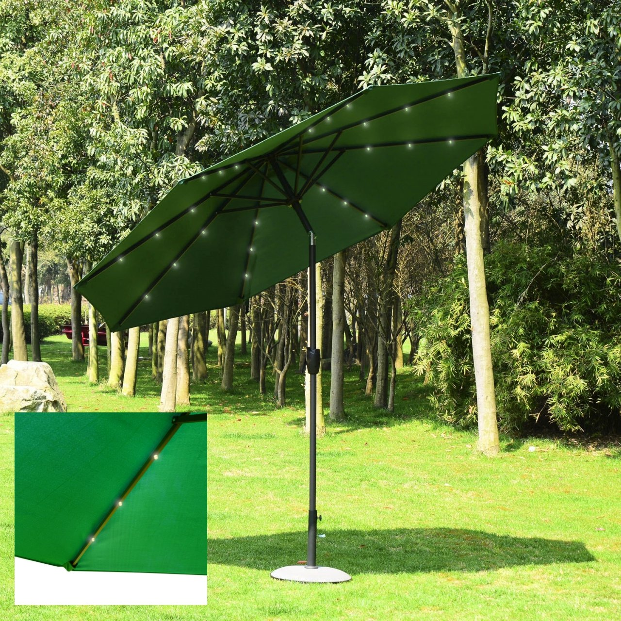 9' Patio Outdoor Solar Power LED 4-Color Light Sunshade Umbrella UV Blocking Tilt & Crank/ Green #958opt