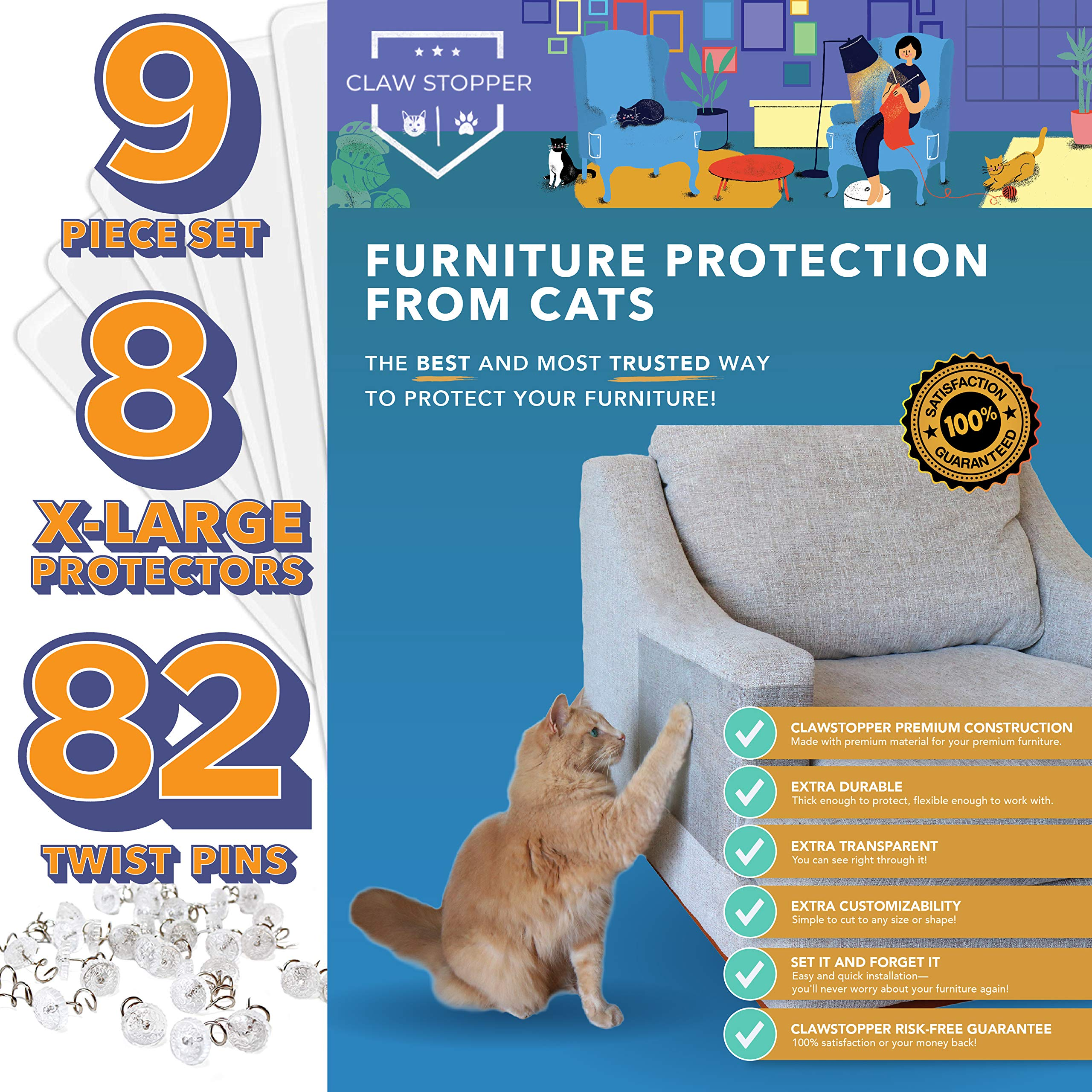 Claw Stopper Furniture Protectors From Cats - 9 Piece Set - Couch Protector from Cats - Cat Scratch Deterrent for Furniture - Couch Cat Scratch Guards - Cat Repellent Indoors - Cat Furniture Protector by Claw Stopper