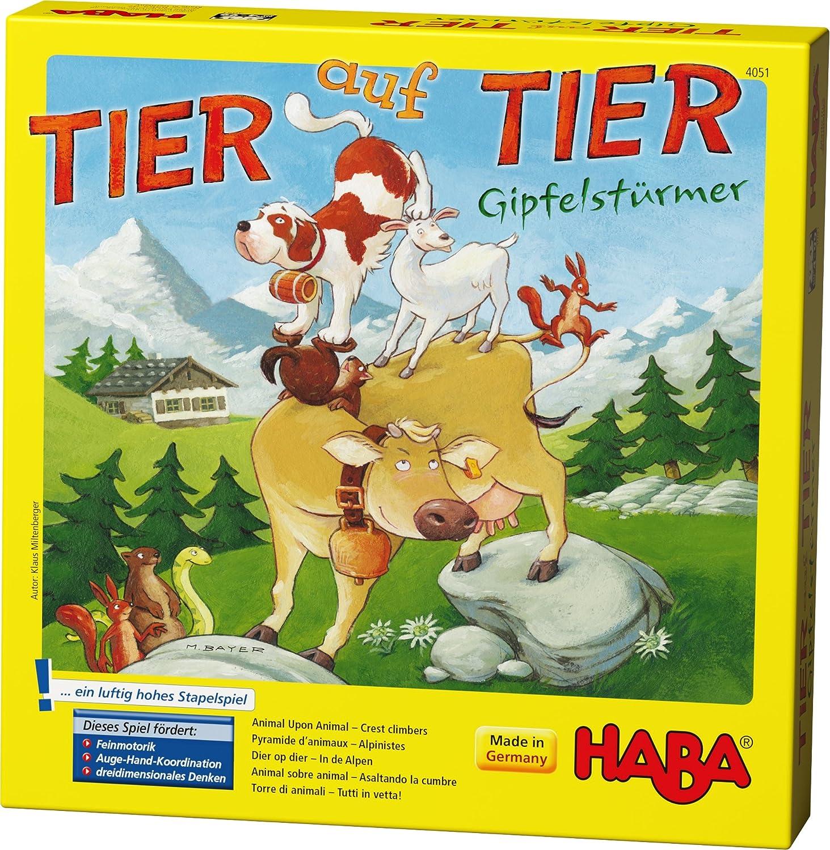 Haba 4051 - Tier auf Tier – Gipfelstürmer | Stapelspiel für 2-4 Personen mit 29 Holzteilen | Spielspaß für die ganze Familie mit einfachen Spielregeln | Spiel ab 4 Jahren Habermaass GmbH