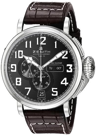 Zenith hombre 0324304054.21 C Piloto pantalla analógica automático suizo marrón reloj