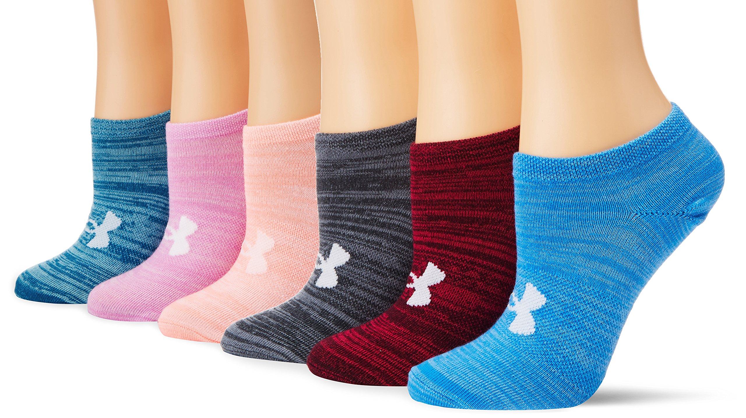 Under Armour Women's Essential Twist No Show Socks (6 Pack), Honeysuckle/Assorted, Medium by Under Armour